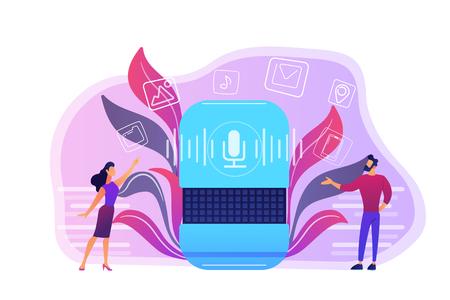 Users buying smart speaker applications online. Smart assistant applications online store, voice activated digital assistants apps market concept, violet palette. Vector isolated illustration.