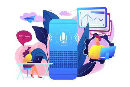 Smart speaker used by office workers. Smart office controller and voice commands, voice controlled office digital devices and Internet of things concept, violet palette. Vector isolated illustration