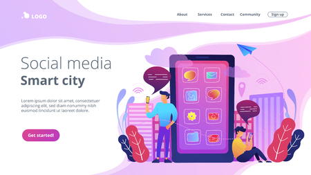 A mens near huge smartphone with application icons on the screen checking social media and news feeds. Social media and smart city landing page. News tips, violet palette. Vector illustration.