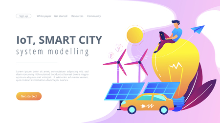 People around huge lamp analyzing power data. IoT, smart city and system modelling landing page. Power saving, smart grid energy, violet palette. Vector illustration on white background.