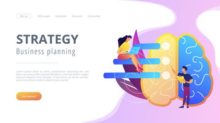 Brain with tasks and users with laptops planning. Strategy and business planning landing page. Analyzing, setting goals and project management, violet palette. Vector illustration on background.