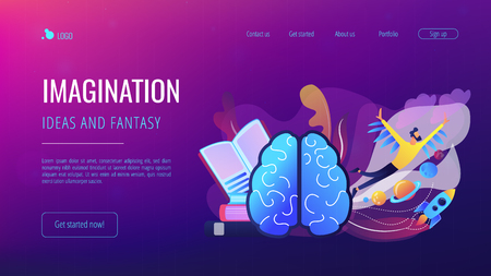 Open book, brain and user flying in space among planets. Imagination, ideas and fantasy landing page. Creative thinking, motivation and inspiration. Vector illustration on ultraviolet background. Illusztráció