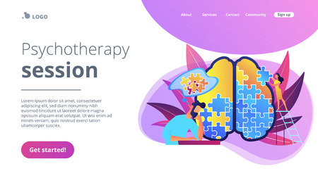 Man doing human brain puzzle. Psychotherapy session landing page. Psychology and mental healing, wellbeing and therapist counselling, mental difficulty violet palette. Vector isolated illustration.