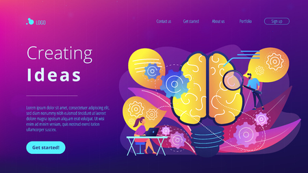 Human brain with gears thinking and users. Creating ideas concept landing page. Thoughts and brainstorming, creativity and business ideas, invention. Vector illustration on ultraviolet background.