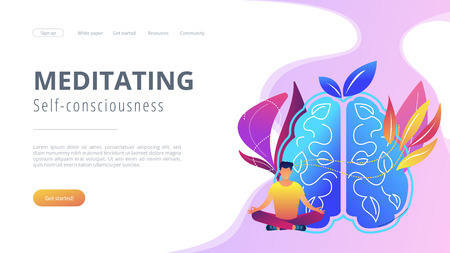 User practicing mindfulness meditation in lotus pose. Meditating and self-consciousness concept landing page. Calmness, focusing and releasing stress, violet palette. Vector illustration.