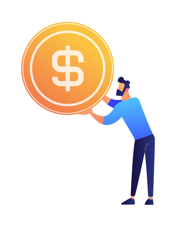 Businessman holding a huge dollar coin vector illustration. Saving cash and earning money, finance investment and management, salary and management concept. Isolated on white background. Standard-Bild - 111497427
