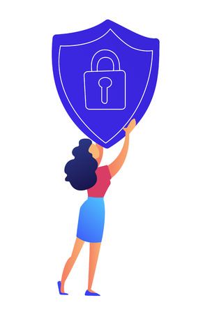 Female IT specialist holds protection shield with lock vector illustration. Internet security and data protection, information access technology, online privacy concept. Isolated on white background.