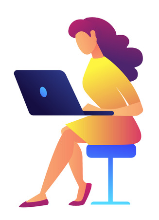Female IT specialist in yellow dress working on laptop sitting on chair vector illustration. People with gadgets, freelance and computer worker, business woman concept. Isolated on white background.