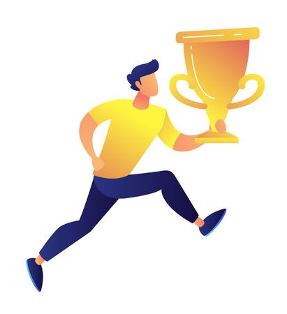 Sportif courant et tenant une grande illustration vectorielle de trophée d'or. Gagnant du concours et prix de réussite, succès commercial, concept de prix de championnat. Isolé sur fond blanc. Vecteurs