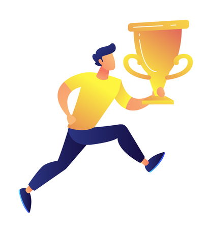 Sportsman running and holding big gold trophy cup award vector illustration. Competition winner and achievement award, business success, championship prize concept. Isolated on white background. Ilustração Vetorial