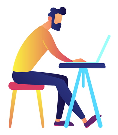Male IT specialist working on laptop at office desk vector illustration. IT company and digital marketing, designer and developer, programmer and freelance concept. Isolated on white background.