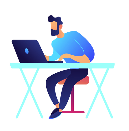 Gamer with laptop sitting at desk vector illustration. IT specialist and freelance designer, developer and office worker, working on internet and studying online concept. Isolated on white background.
