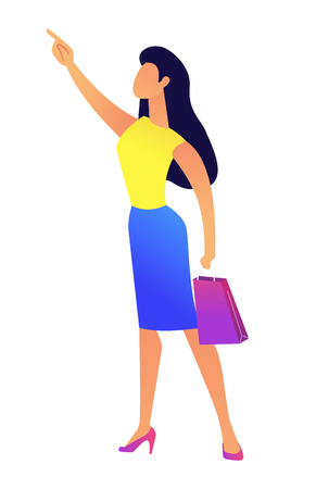 Young business woman with shopping bag pointing with finger vector illustration. Shoppping and sales, purchase and advertisement, discounts and clearance concept. Isolated on white background. Illustration