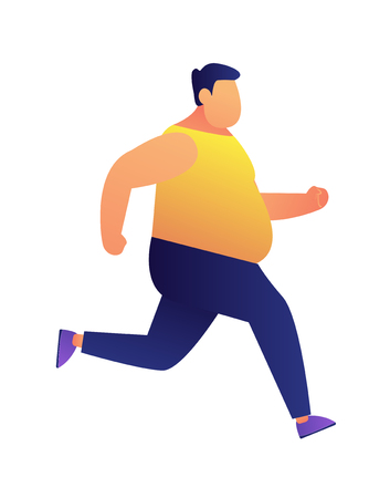 Overweight man jogging vector illustration. Weight loss jogging and fitness training, dieting and cardio training, keeping fit and healthy lifestyle conscious concept. Isolated on white background. Ilustrace