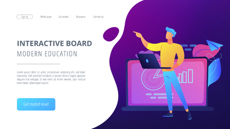 Lector with laptop at interactive board. Modern education and interactive board landing page. Blended learning and smart classroom, modern education. Vector illustration on ultraviolet background