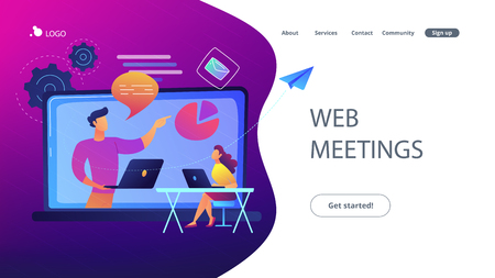 Student with laptop and lector at LCD screen. Web meetings landing page. Webinar, web seminars, webcasts, modern education and collaborative sessions. Vector illustration on ultraviolet background.