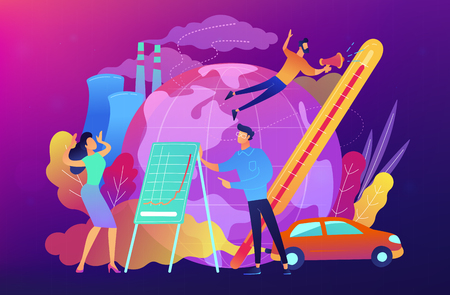 People in panic to announce global heating data. Globe with power plant and traffic fumes as a symbol of environment pollution, global heating impact. Vector illustration on ulterviolet background.