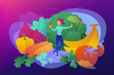 A white woman among fruits, vegetables and mushrooms as a concept of raw veganism, raw foodism, fruitarianism, juicearianism and sproutarianism. Vector illustration on ultraviolet background.