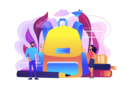 Students wearing new clothes and big backpack, books, pencil. Back to school outfits and trends, new school year fashion and first day of school clothes, violet palette. Vector isolated illustration.