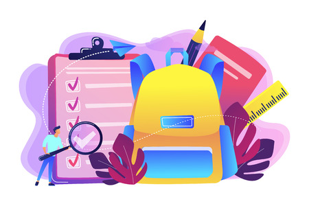 Clipboard with list to do, big school backpack, ruler and student with magnifier. Back to school checklist, list of stationery, school planner concept, violet palette. Vector isolated illustration.