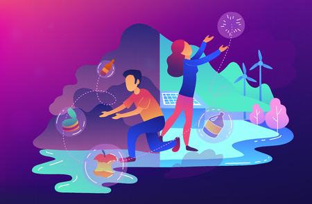 People sorting garbage trying to reach zero waste. Technology of ecological waste free journey focusing on landfill trash. Renewable resource concept. Vector illustration on ultraviolet background