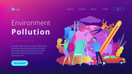 People in panic to announce global heating data. Environment pollution landing page. Globe with power plant and traffic fumes, global heating impact. Vector illustration on ultraviolet background Illustration
