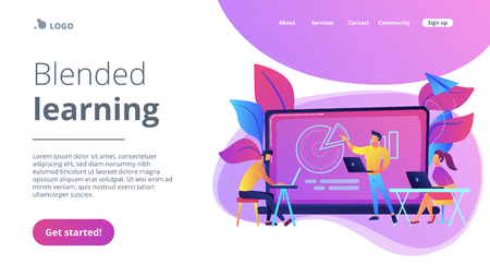 Students with laptops sitting around lector behind interactive board. Blended learning landing page. Digital and smart classroom, modern education, violet palette. Vector illustration on background