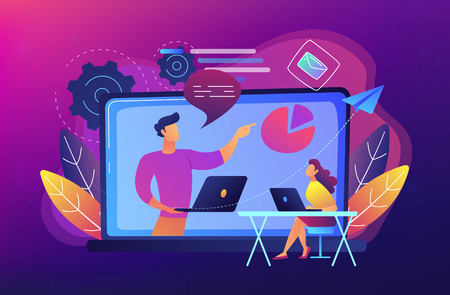 Student with laptop and lector at the LCD screen. Webinar, web seminars, webcasts, and peer-level web meetings. Modern education and sessions concept. Vector illustration on ultraviolet background. Illustration