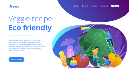 People taking care of vegetables. Veggie recipe, eco friendly landing page. Vegetarianism, vegetarian diet, meat abstaining, healthy lifestyle, violet palette. Vector illustration on background.