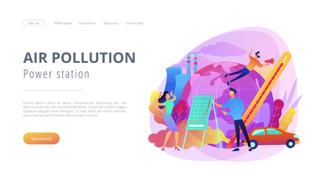 People in panic to announce global heating data. Power station air pollution landing page. Globe with power plant and traffic fumes, global heating. Violet palette.Vector illustration on background
