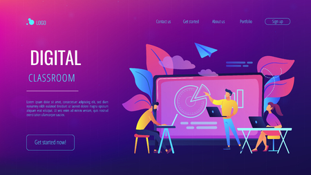 Students with laptop and lector in front of interactive board. Digital classroom landing page. Blended learning and smart classroom, modern education. Vector illustration on ultraviolet background