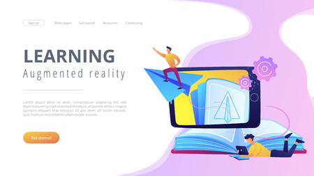 User with book and tablet watching himself flying on paper plane in augmented reality. Virtual reality learning technology, enertainment app concept, violet palette. Website landing web page. Illustration