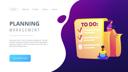People feel in check boxes in to do list. Project task management it concept. Software development process and project management activities. Violet palette. Website landing web page template.