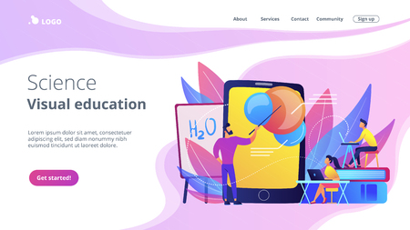 Professor teaching sudents science with help of tablet and augmented reality. Virtual reality, visual education, engaging teaching methods concept, violet palette. Website landing web page.