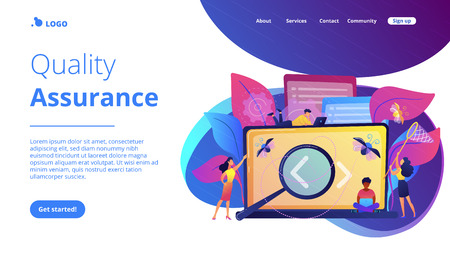 People catching bugs on the laptop screen with angle brackets. IT software application testing, quality assurance, QA team and bug fixing concept. Violet palette. Website landing web page template.
