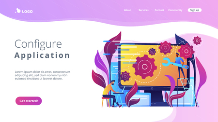 People configure the application on the big LCD screen with gears. Back end development it concept. Software development process. Violet palette. Back-end concept. Website landing web page template. Stock fotó - 107826775