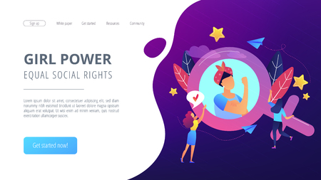 A woman image in female gender sign showing biceps as a concept of feminism, girl power, movement, female equality, equal social and civil rights. Violet palette. Website landing web page template. Standard-Bild - 107826776