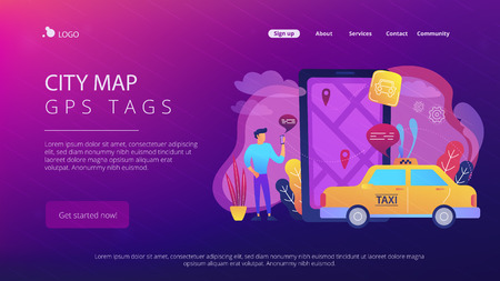A man near huge smartphone with city map and gps tags on the screen calls a taxi. Navigation apps, smart public transport, IoT and smart city concept, violet palette. Vector illustration on background