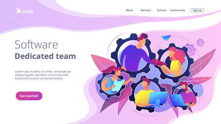 IT team members working as one mechanizm. Dedicated team - software development professionals engaged to the IT project. Business model in IT concept. Violet palette. Website landing web page template. Ilustrace