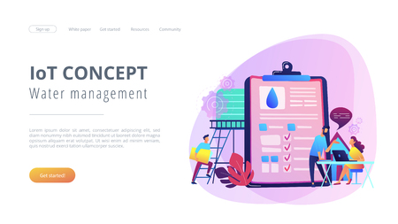 People near huge paper tablet with report of water flow and checkboxes analyzing data. Water management, ecology, IoT and smart city concept, violet palette. Website landing web page template.