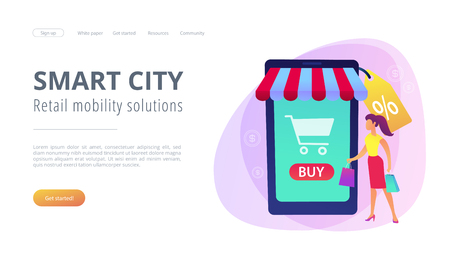 A couple near huge smartphone with buy icon on the screen make online purchases. Smart retail, retail mobility solutions, IoT and smart city concept, violet palette. Website landing web page template. Stock Illustratie