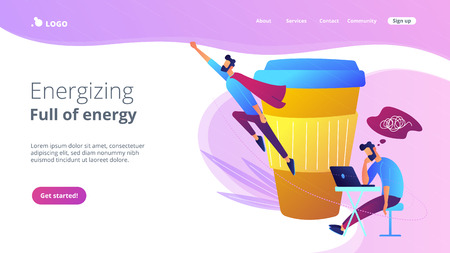 A man sitting tired at the desk and another flying full of energy after cup of coffee. Coffee break, low energy, tiredness, energizing concept, violet palette. Website landing web page template. Stock Illustratie