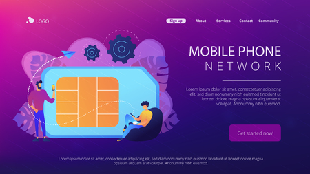 Mobile sim phone card and users with smartphones. Mobile phone network, smartphone plastic card and microchip, wireless cellphone communication concept, violet palette. Website landing web page template.