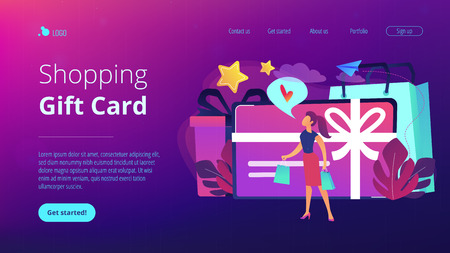 Gift card with bow and ribbon, gift box and woman loving shopping. Shopping certificate and gift voucher, prepaid cash card and bonus, sale concept, violet palette. Website landing web page template.
