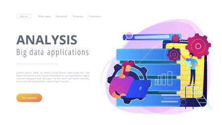 Developer using big data applications and tablet. Data processing software, database management and analysis, information privacy concept, violet palette. Website landing web page template.