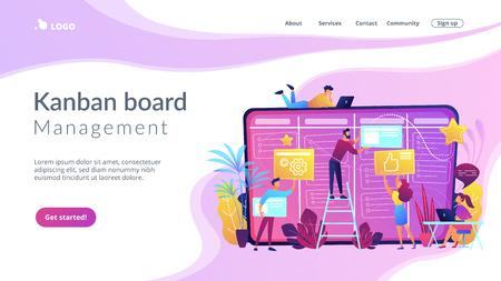 Team members moving cards on large kanban board. Teamwork, communication, interaction, business process, agile project management concept, violet palette. Website landing web page template.