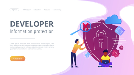 Man holding security shield and developer using laptop. Data and applications protection, network and information security, safe cloud storage concept, violet palette. Website landing web page template.