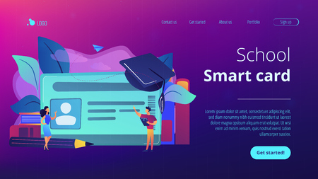 School smart card with photo and users. Student profile and school attendance, student identification with microchip, school access and payment concept, violet palette. Website landing web page template.