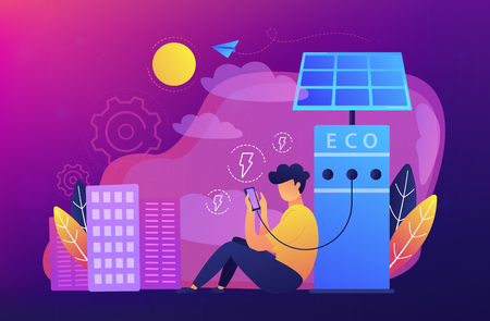 Man charges smartphone from solar recharge station. Ecological renewable charging systems, smart bus stops, IoT and smart city concept, violet palette. Vector illustration on violet background.