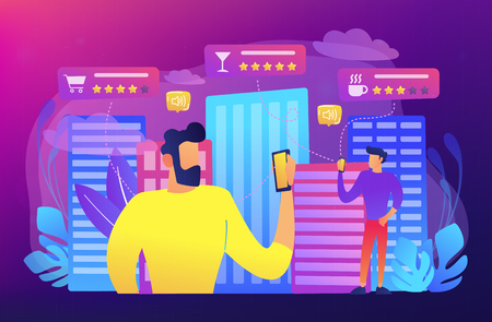 People checking cafe, bar and retail shop rates and ranks with smartphones. Intelligent service systems, smart navigation, IoT and smart city concept, violet palette. Vector illustration on background Banque d'images - 110237086